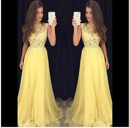 Spring Water Sale Canada - Hot Sale 2017 Yellow A Line Prom Dresses Jewel Neck Lace Applique See Through Chiffon Floor-Length Formal Evenign Gowns