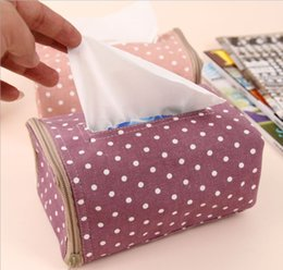 Wholesale Case For Tissue Box Canada - Wholesale- 1PC Tissue Box Cover Case Holder With Zipper Paper Towel Bag For Home Office Car Automotive Removable Home Decoration