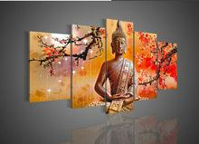 Discount buddha handed oil painting - Framed Huge 5 Panel hand-painted Modern Abstract Art Buddha Decor Wall Oil Painting On Canvas Multi sizes 527