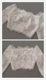 Make Half Sleeve Jacket NZ - Off Shoulder Alencon Lace Jacket Illusion Half Sleeve Covered Button Bridal Shrug Boleros Wraps Wedding Dress accessories Shawl White ivory