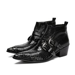 Vente en gros 6.5 cm noir bout pointu 100% à la main marque nouveaux hommes bottes en cuir avec boucle zipper bottines de luxe de type italie, taille 38-46