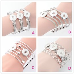 $enCountryForm.capitalKeyWord NZ - Button Jewelry Simple Lines Hollow One Direction Metal snap Bracelets For Newest 18mm Snap Button Bangle cuff