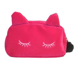 Cute Cosmetic Pouches Canada - Wholesale- Women Cosmetic Pouch Bags Fashion Ladies Makeup Organizer Bags Clutches Purses Wallets Women's Bags Cute Cat Bag Bolsa Feminina