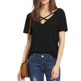 $enCountryForm.capitalKeyWord NZ - Wholesale- Women T Shirt 2017 Summer Fashion Bandage Sexy V Neck Criss Cross Top Casual Lady Female T-shirt Plus Size Lady Tees T Shirt