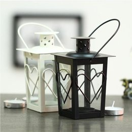 Metal candle holders centerpieces online shopping - Black White Metal candle holders Iron lantern wedding candelabra candelabra centerpieces wedding moroccan lanterns candle lantern