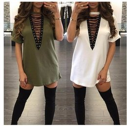 sexy army shirts NZ - Wholesale 2018 Hot Selling Dresses for Women Clothes Fashion Short Sleeve Autumn Casual Loose V Neck T-Shirt Plus Dress