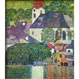 gustav klimt paintings NZ - Gustav Klimt Landscapes KIRCHE IN UNTERACH AM ATTERSEE CHURCH IN UNTERACH ON ATTERSEE Hand painted Oil Paintings reproduction Home decor
