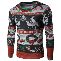 Chinese  3D Christmas Men's Pullover Basic Cotton T Shirt Breathable Long Sleeve O-neck Printed T Shirts Men's Fashion Street Plus Size Tops tee manufacturers