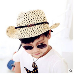 2018 crochet baby cowboy hats A cowboy hat, Summer han edition of private cowboy children breathable baby sun hat shows children straw hats cheap croc