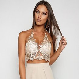 Barato Sutiã Escarpada-Mulheres Floral Lace Crop Top Halter Triangle Bra Tops Zip Sheer Mesh Short Camis Blusa Summer Beach Tank Top Branco Preto Ouro