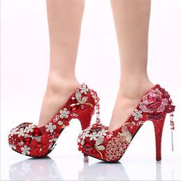 d22ba1a56964 Women wedding shoes High-heeled shoes heels 11 cm bigger size 34-42 fashion  dress shoes Red Crystal phoenix bride beautiful wedding shoe