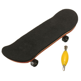 mini skateboards finger boards NZ - Wholesale-100mmx28mmx15mm Maple Wooden FingerBoard mini finger boards Sports Skateboard Black Bearings Wheels Kids Game Gift