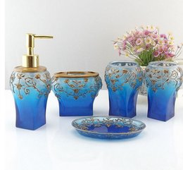 high grade 5 pieces bathroom accessory set blue resin sanitary warehome decor