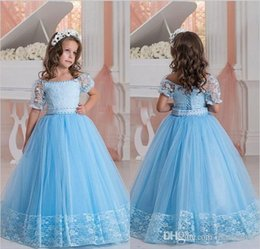 Wholesale Hot sale Classic simple bateau Lace Flower Girl Dresses Ball Gown Tulle Beads Pageant Gowns Size customization