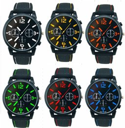 $enCountryForm.capitalKeyWord NZ - Wholesale 50pcs lot Mix 6Colors Men Causal SPORT Military Pilot Aviator Army Racing Silicone GT Watch RW013