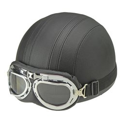 Vintage Leather Motorcycle Helmets NZ - Wholesale- Hot Sell Brown Synthetic Leather vintage Motorcycle Motorbike Vespa Open Face Half Motor scooter Helmets Visor Goggles
