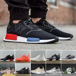 Chaussures De Sport En Denim Pas Cher-NMD Runner R1 Mesh Triple White Cream Salmon City Pack Hommes Femmes Chaussures de course Sneakers Original NMDs Runner Primeknit Sports Shoes US 5-11