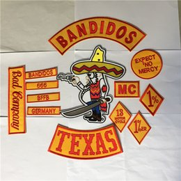 Wholesale Embroidered Jackets Canada - BANDIDOS MC Embroidered Patches Jacket Iron On Patches Set Button GERMANY TEXAS WORLDWIDE NOMAND 10Sets Wholesale DHL Free