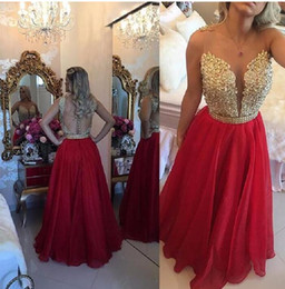 Barato Vestido De Chiffon Vermelho Ouro-2017 Vestidos Longo Appliques Lace Borgonha Gold Champagne Red Bridesmaid baile de finalistas Vestidos Longo 2K17Wedding Party Dress With Crystal Sash