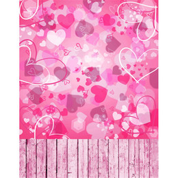 photography background hearts 2019 - Wood Floor Child Studio Photography Backgrounds Pink Love Heart Shapes Romantic Valentine's Day Wedding Photobooth