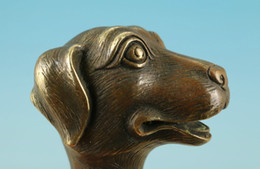 $enCountryForm.capitalKeyWord Australia - Chinese Old Bronze Handmade Carved Dog Collect Statue Walking Stick Head