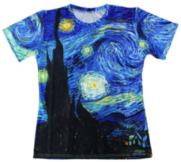 painting vincent van gogh UK - Newest Fashion Summer Men Women Vincent Van Gogh Oil Painting Starry Night Harajuku Style Funny 3d Print Casual T-shirt S-5XL H98