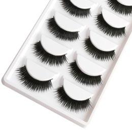 False Eyelash Boxes Canada - Saleing False EyeLashes 1 Box 5 Pairs Thick Black False Eyelashes Makeup Tips Natural Smoky Makeup Long Fake Eye Lashes
