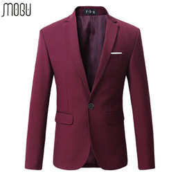Vente En Gros Blazer Rouge Pas Cher-Vente en gros - 2016 Hot-selling Man's Blazers Plus Tailles 5XL 6XL Cotton Solid Business Fashion Suit pour hommes Red Casual High Quality Male Blazer