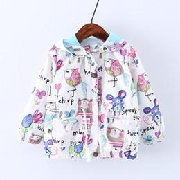Cotton summer jaCket for girls online shopping - Ins Animal Print Coat Cartoon Hooded Jacket for Girls Birds Owl Windproof Sunscreen Ultraviolet proof Kids Windbreaker