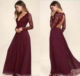Vestidos Largos Estilo Occidental Baratos-2017 Burgundy gasa vestido de dama de honor mangas largas estilo occidental del país con cuello en V Backless playa larga de encaje tapa de los vestidos de novia baratos