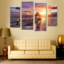 Beautiful Beach Pictures Canada - 4 Pcs beautiful beach at dusk Wall Art Picture Modern Home Decoration modular paintings on the wall posters and prints