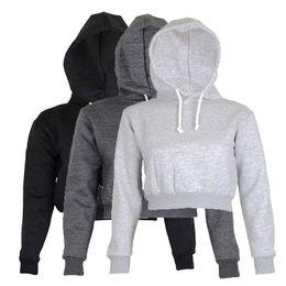 Crop hoodies wholesale online shopping - Autumn Womens Solid Crop Hoodie Long Sleeve Jumper Hooded Pullover Coat Casual Sweatshirt Top Sudaderas Mujer