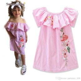 Down shows online shopping - INS hot sell Europe and America style new arrivals girls show Shoulder Embroidery cotton dress pink striped strapless dress