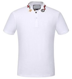 China Top Express White Solid Polo Shirt Snake Bee Collar Casual Polos For Men Tee Shirts Tops High Quality Cotton Black M-XXXL suppliers