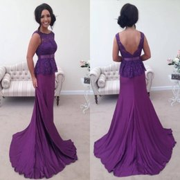 Barato Longo Roxo Vestidos Para Mulheres-Elegant Purple Long Prom Dresses Com Peplum Lace Top Sash Mermaid Evening Gowns Low Back Sexy Mother Party Dress Mulheres Formal Wear