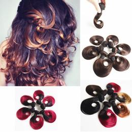 $enCountryForm.capitalKeyWord Canada - Human hair weaves Brazilian Hair Short Natural Wave Ombre Hair Extensions 1B Burgundy 1B 27 1B 30 Color 10inch