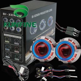 Discount angel eyes bulbs - Car Bi-Xenon HID Projector Lens Kit with Double angel eyes include HID bulb For car headlight high low beam 14 months wa