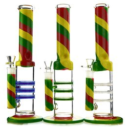 ice catcher glass water bong 2020 - Tricolour Striped Rasta Straight Tube Bong With Triple Honeycomb Perc 14.5Inch Water Bong Heady Oil Rigs With Ice Catche