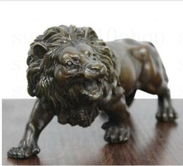 sculpture figures Canada - Sculpture&Carving Lions Bronze coffee Fierce Wild Animals Figure Lions Statue