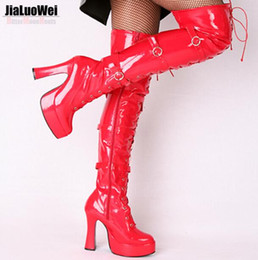 Purple Martin Boots Australia - NEW 2019 Hollywood Sexy Shoes Halloween Costume Women's Over Knee High Boots Buckles Lace up and Side Zipper Thick Heel 12cm Free Shipping
