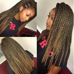 3d Hair Canada - Easy install Sliped 3D Cubic Twist Crochet Hair bundles wavy 12 Strands pack Ombre Synthetic Braids Hair Extension For Black African Women