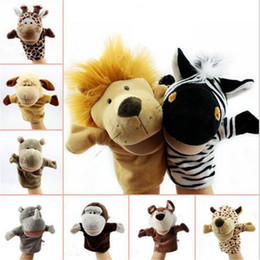 Discount kids educational game - New Cartoon Animal Hand Puppets Farm Plush Toy Stuffed Animal Farm Talking Props Animal Group Kindergarten Game Doll Edu