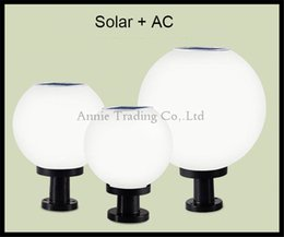 Wholesale Solar Led Outdoor Waterproof Pillar Lamp Lights Spherical Globe Milky Acrylic Lampshade Ip Rated Solar And Ac Power Post Lights Solar Powered