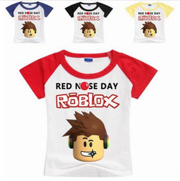 Baby Boy T Shirt Cars Canada - 2017 New ROBLOX RED NOSE DAY Kids Tops Cute Hot Sale Cartoon Cars Kids Baby Boys Short Sleeve Summer Tops T-shirt Tees Clothes