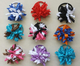 Discount hair clip holders wholesale - 10pcs 2.5inch korker ponytail hair ties holders streamer corker hair bows clip Cheer Bows Curly Ribbon Bow hair bobbles