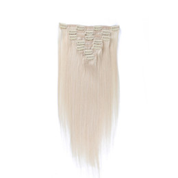 Clip Human Hair Extensions Blonde Straight UK - Color 60 # Clip in Human Hair Extensions Blonde Human Hair Clip In Extensions 7pcs 120g Platinum Blonde Remy Human Hair Clip In