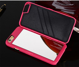 $enCountryForm.capitalKeyWord NZ - Hot High Quality Luxury Lady make up 3D Dual Layer Card Slot Wallet Mirror Case cover For iPhone 8 7 6S Plus SE