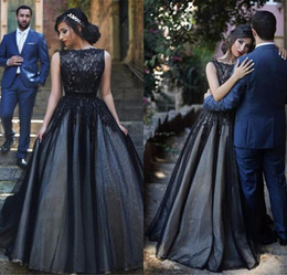Cheap Glamorous Prom Dresses Canada - Glamorous Black Lace A-Line Princess Prom Dresses Simple Scoop Sleeveless Long Evening Party Gowns Cheap Tulle Dress
