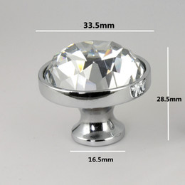 Crystal Pull Cabinet Handles Australia - 33mm modern fashion silver chrome drawer tv cabinet knobs pulls glass crystal kitchen cabinet bookcase wine cabinet handles knob