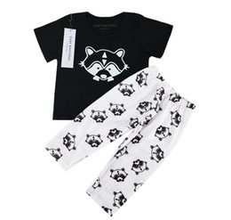 Barato Camiseta Meninas Cheias-2PCS Newborn Cute Cartoon Full Fox Printed Baby Boy Girl Set Set Infantil Soft Cotton T Shirt Calças Short Sleeve Toddler Clothes